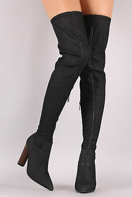 28575ddfcb595 Denim Stretchy Over Knee Thigh High Block Heel Pointy Toe Boots Black Size  11