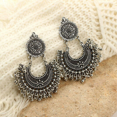 Metal Tassel Jhumka Indian Ethnic Bollywood Dangle Earrings Stylish Jewelry