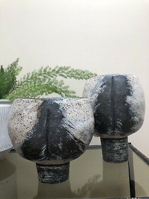 Pair Of Ceramic Handmade Stoneware Vessels