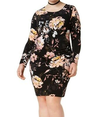 13f02ee7db11 INC NEW Black Womens Size 0X Plus Ruched Floral Print Sheath Dress $86 423