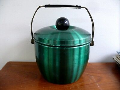 VINTAGE 1950s 1960s DECO GREEN ANODISED ICE BUCKET RETRO BAR