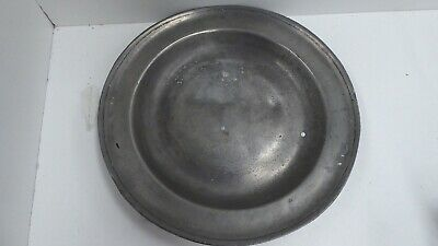 Antique Pewter Plate Angel Eagle And Flower Rustic French Farmhouse