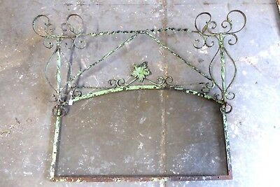 Antique French Wrought Iron Ornate Scrolled Flower Fire Spark Screen Farmhouse