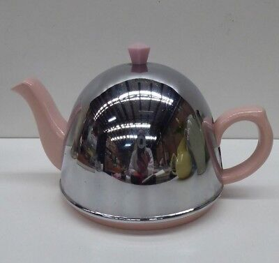 Vintage Art Deco England Pottery Ceramic Teapot Metal Insulated Tea Cosy