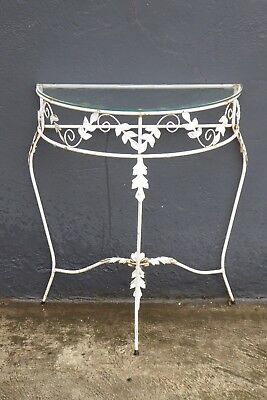 Vintage Half Round Demi Lune Wrought Iron Glass Top Vintage Table Hall Patio