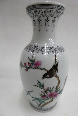 Hand Painted Chinese Porcelain Vase Bird On Blossom Tree Signed To Base