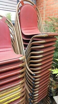 STACK 27 VINTAGE 1950s 60s MID CENTURY SEBEL STACKING CHAIR INDUSTRIAL CAFE