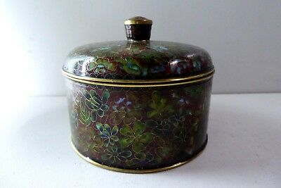 Vintage Cloisonne Lidded Dish Enamel On Brass