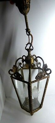 Vintage Ornate Cast Brass Cut Glass Pendant Light Fitting Antique Style Porch
