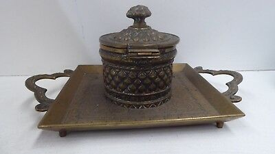 Antique Victorian Brass Embossed Engraved Ink Bottle Pen Stand Inkwell Desk Set