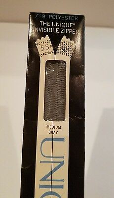 """NOS VINTAGE The Unique Invisible Zippers Polyester//Metal~33 Colors 7-9/"""" inch"""