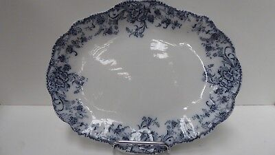Antique Flo Blue White Oval Meat Serving Plate Staffordshire Pottery