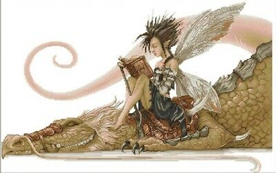 Girl Reading a Book on Dragon. 14CT Counted Cross stitch Kit. Craft Brand New