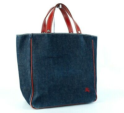 4fa204203e Auth BURBERRY London Blue Label Denim   Red Leather Tote Hand Bag Made Japan