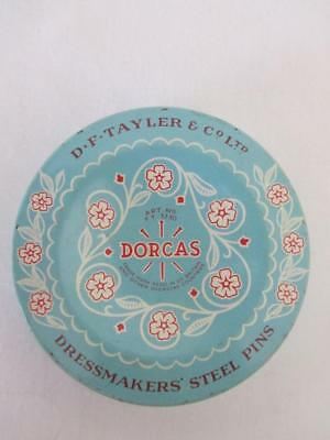 Rare Vintage TIN Dressmakers PINS Sewing DORCAS Made In England Exc Con