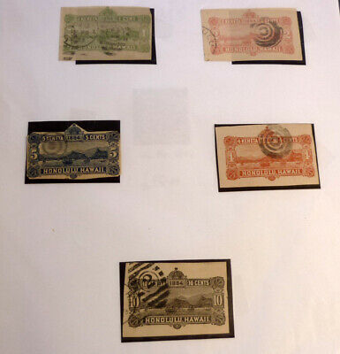 LOT OF 5 OLD HAWAII STAMPS, 1884 HONOLULU 1 2 4 5 & 10c