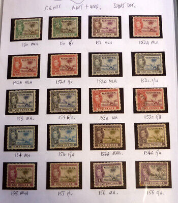 Lot Of 20 Old Gambia Stamps, Sg 150-156, Kgvi Mint & Used Short Set