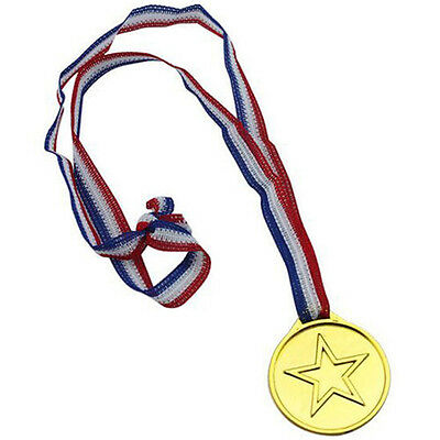 5pcs Children Gold Plastic Winners Medals Sports Day Party Bag Prize Awards Toys