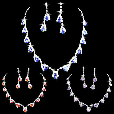 Prom Wedding Party Bridal Jewelry Diamante Crystal Necklace Earrings Sets Bling