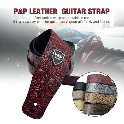 Adjustable 2.5 inch leather Guitar Strap Belt for Acoustic/Electric/Bass AU