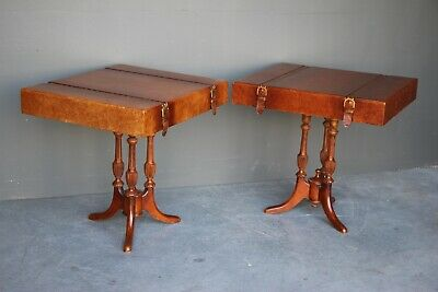Pair vintage cigar leather top lamp tables bedsides carved ornate antique walnut