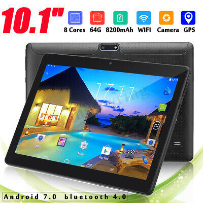 Gold 10.1'' 4G+64GB Tablet PC Android 7.0 HD bluetooth 2 SIM Card Octa Core