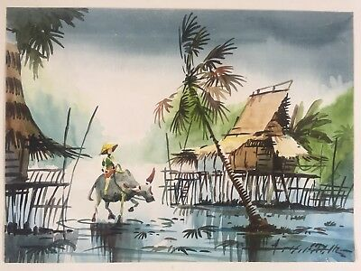 watercolour by A B IBRAHIM (1925-1977)