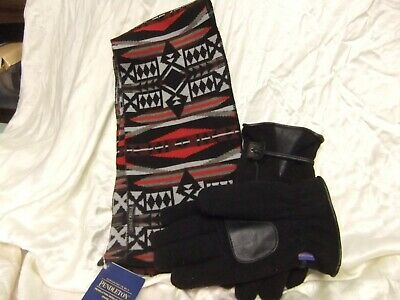 PENDLETON 100% WOOL La Paz Scarf Red Black   Mens Black Wool Gloves ... ca4b62d138410
