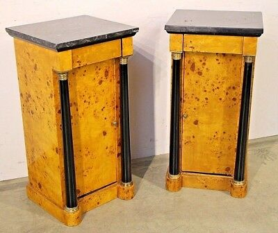 Pair antique art Deco blonde burl birch bedsides cabinets marble top Biedermeier