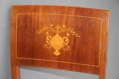 PAIR antique Empire desk chairs marquetry inlaid neoclassical comfortable seats
