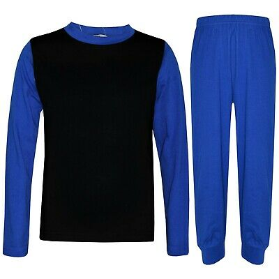 Kids Girls Boys Pjs Contrast Royal Blue Color Plain Stylish Pyjamas Set 2-13 Yrs
