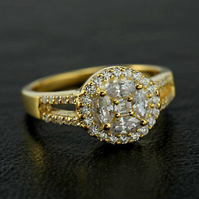 Real 10K Yellow Gold 0.65 Ct Princess Cut Diamond Cluster Engagement Ring