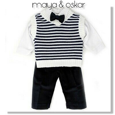Baby Navy Smart Formal Suit Set Outfit Page Boy Baptism Christening Party 0-12m