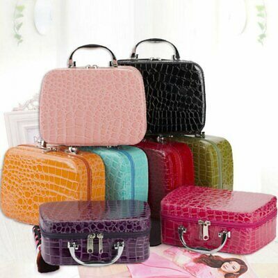 Travel Cosmetic Bag PU Leather Box Portable Train Makeup Organizer Case