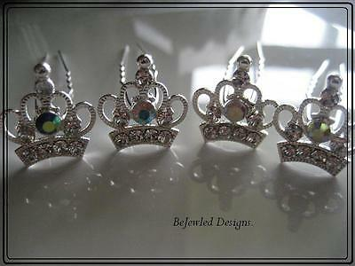 Rhinestone Crown Hair Pins ~Set 4~