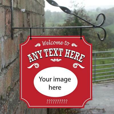 Personalised Hanging Pub sign, Add your own Photo / Image Home Bar Hanging Sign