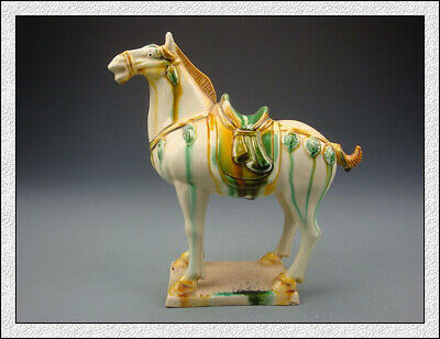 Nice Wonderful Chinese Tang SanCai White Glaze Horse Statues