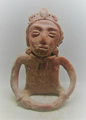 Rare Ancient Aztec Seated Terracotta Diety. Very Fine State. 1100-1200Ce.
