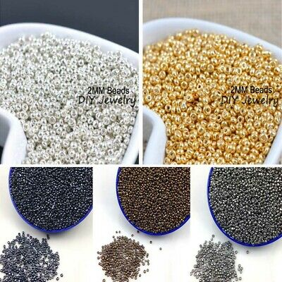 1000pcs 16g 2mm Metal Color Round Loose Czech Glass Seed Beads DIY Jewelry Make