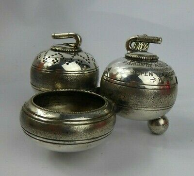Antique Fenton Brothers Novelty Curling Stone Cruet Set c1882 Silver Plate Rare