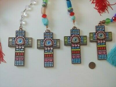 Lot of Four Handmade Large Cross Sun Catchers w/ Eye Center Large Beads Tassels