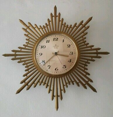 Vintage JUNGHANS Mid Century German Starburst Sunburst Metal Quartz Wall Clock