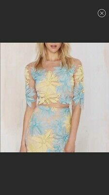 7a8702bc43717 For Love Lemons Nasty Gal Yellow Teal Blue Lace Top Skirt 2 Piece Coachella  L
