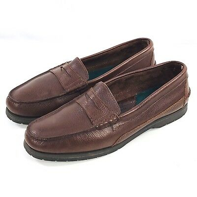 f5a2c329b8d Eddie Bauer Penny Loafer Shoes Mens Size 12 Brown Pebbled Leather Slip On
