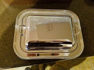 Vintage Silver Plate Rogers Bros Covered Serving Tray Vegetable Dish Handles USA