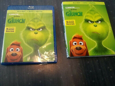 Dr. Seuss The GRINCH BLU-RAY & DVD Disc Case Sleeve ONLY Never played NO DIGITAL