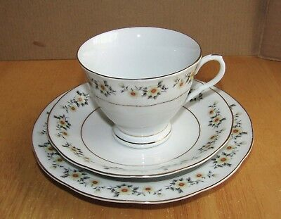 Vintage China Trio - Cup Saucer Tea/side plate Yellow floral flowers & Gold rims