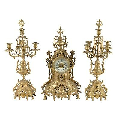 French Rococo Gilt metal clock Garniture