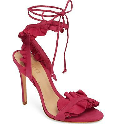 238eac1c31439 SCHUTZ IREM PEACH Blush Suede Tie Up Ruffle High Heel Single Sole ...