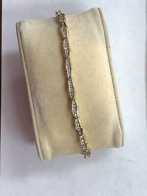 Gorgeous Solid Well Made 14KT Yellow Gold Linked 1 CTW Natural Diamond Bracelet